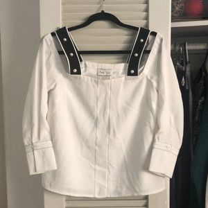 NWT Ark & Co. Off the Shoulder Pearl Detail Top M